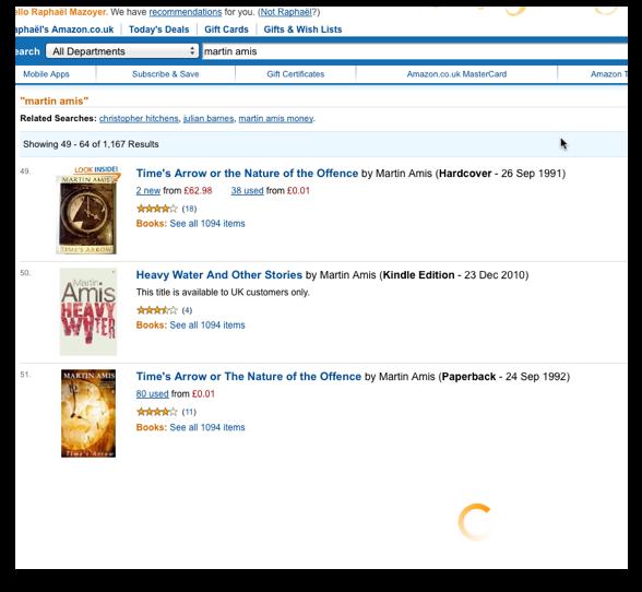 Screenshot: Amazon.co.uk preloading search results.